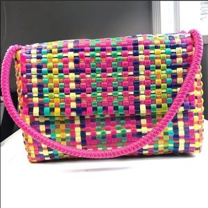 Mexican hand made woven plastic bag purse